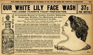 vintage beauty clipart, black and white clip art, old catalogue advertisement, aged paper ephemera, white lily face wash