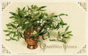 John Winsch, vintage Christmas postcard, mistletoe and berries clip art, Victorian Christmas card, antique Christmas illustration