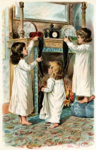 girls Christmas stocking, Victorian children clip art, vintage Christmas graphic, free digital Christmas, vintage storybook illustration
