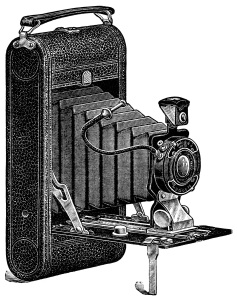 aged paper ephemera, old catalogue page, black and white clipart, antique camera illustration, vintage camera clip art, conley camera ad, 1916 camera