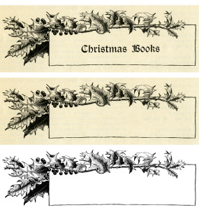 vintage Christmas frame, holly berries frame, black and white graphic, vintage frame clip art, Victorian Christmas illustration