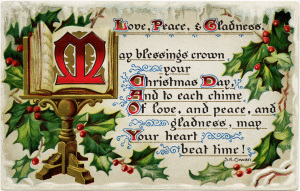 Christmas vintage postcard, old fashioned Christmas card, free holiday graphic, old fashioned Christmas message