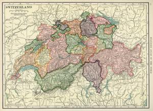 Switzerland map, vintage map download, antique map, C. S. Hammond, history geography Switzerland