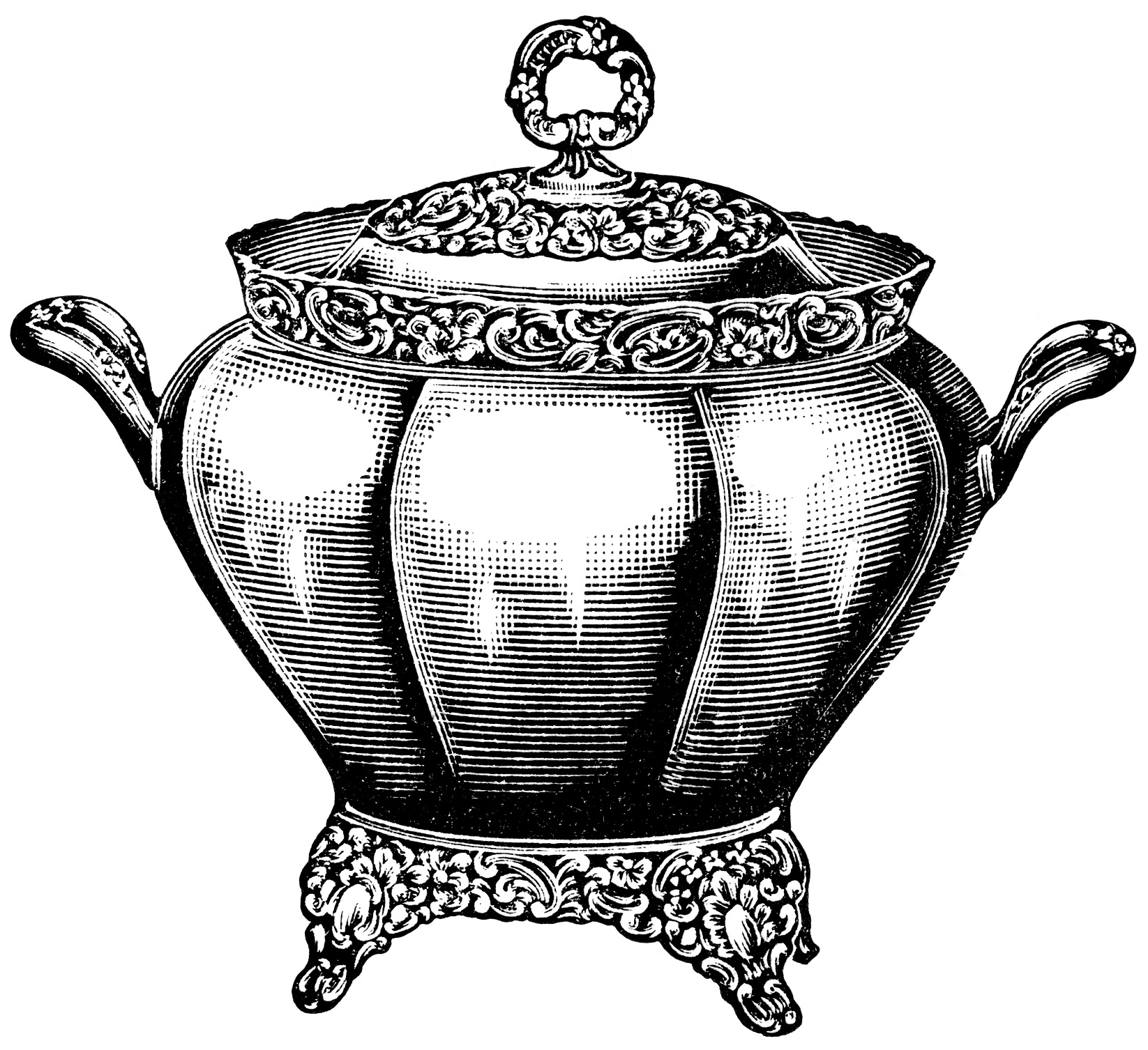Retro Kitchen Illustration: Soup Tureen ~ Free Vintage Clip Art