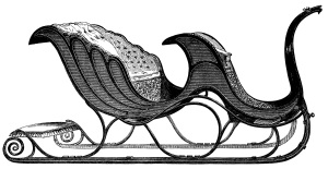 vintage clip art sleigh, free black and white clipart, Victorian transportation image, horse carriage engraving, santa sleigh illustration, antique Canadian sleigh