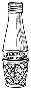 Slade's salad cream, vintage kitchen clip art, vintage magazine advertisement, old fashioned salad dressing, black and white graphics