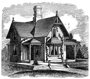 Old Fashioned Cottage Victorian House Image Vintage Home Clip Art