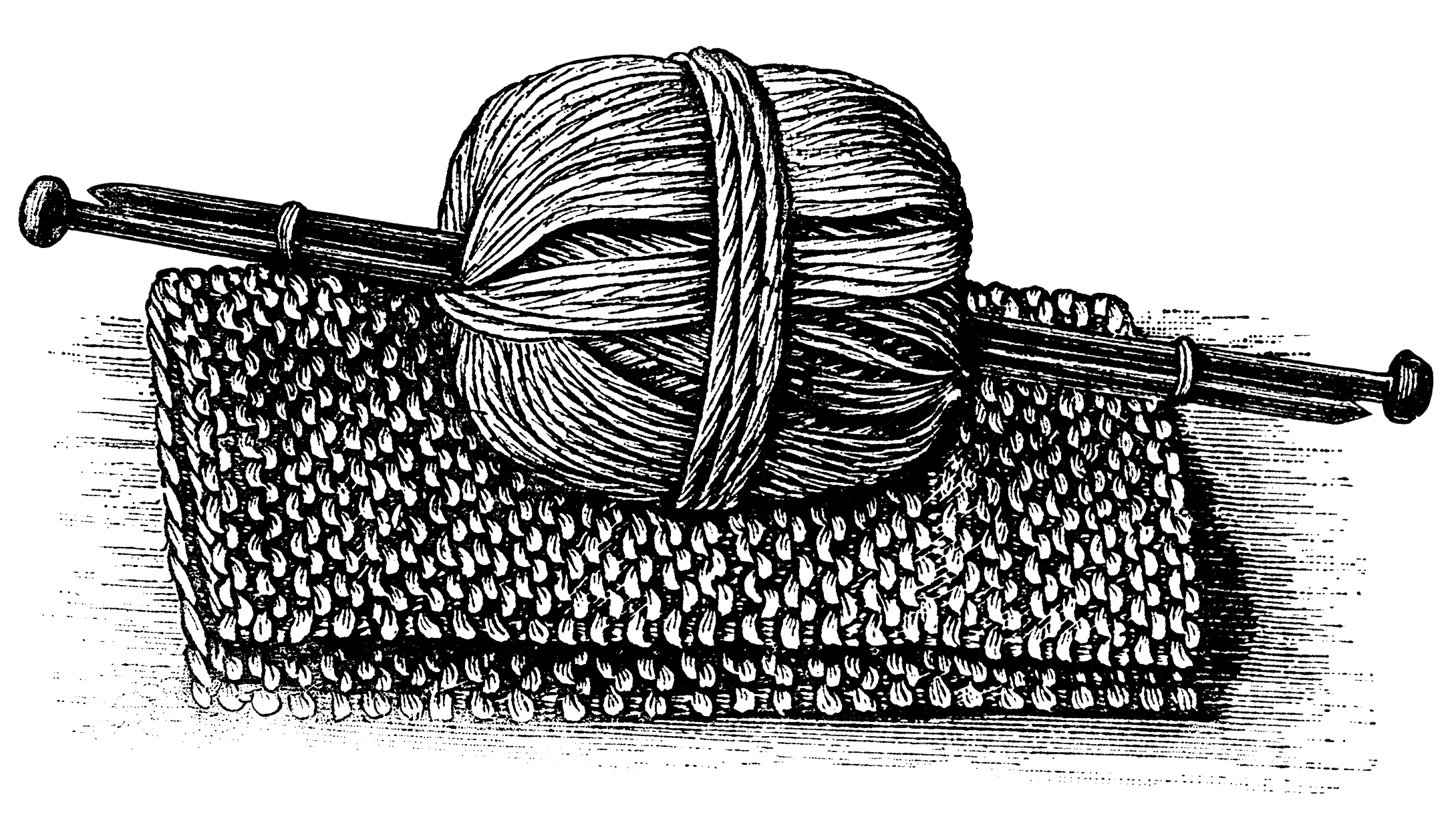 Yarn Clipart Black And White Yarn and Knitting Clip...