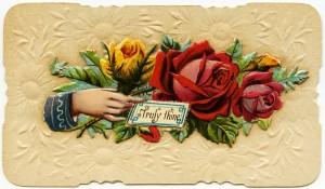 Victorian calling card, vintage ephemera, free vintage card, old fashioned visiting card, printable card hand roses