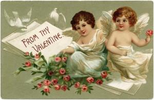 vintage valentine postcard, cherubs and roses clip art, old fashioned valentine card, vintage valentine illustration, printable valentines day card