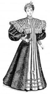 Victorian fashion illustration, vintage ladies fashion clip art, ladies tea gown 1896, antique dress image, black and white clip art, printable Victorian graphics
