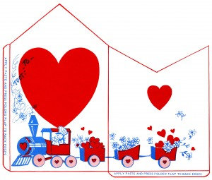 vintage valentine clip art, retro valentine envelope, train valentine illustration, printable envelope, red white blue envelope design