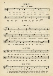 vintage sheet music, songs for March, kindergarten music, easy songs for children, old book page