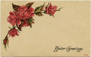 vintage easter postcard, red roses clip art, shabby vintage ephemera, old fashioned easter card, beautiful floral postcard, junk journal printable