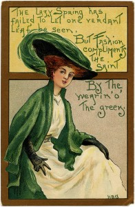 St Patrick's Day postcard, vintage postcard printable, free vintage ephemera, wearing green graphics, lady in green clipart