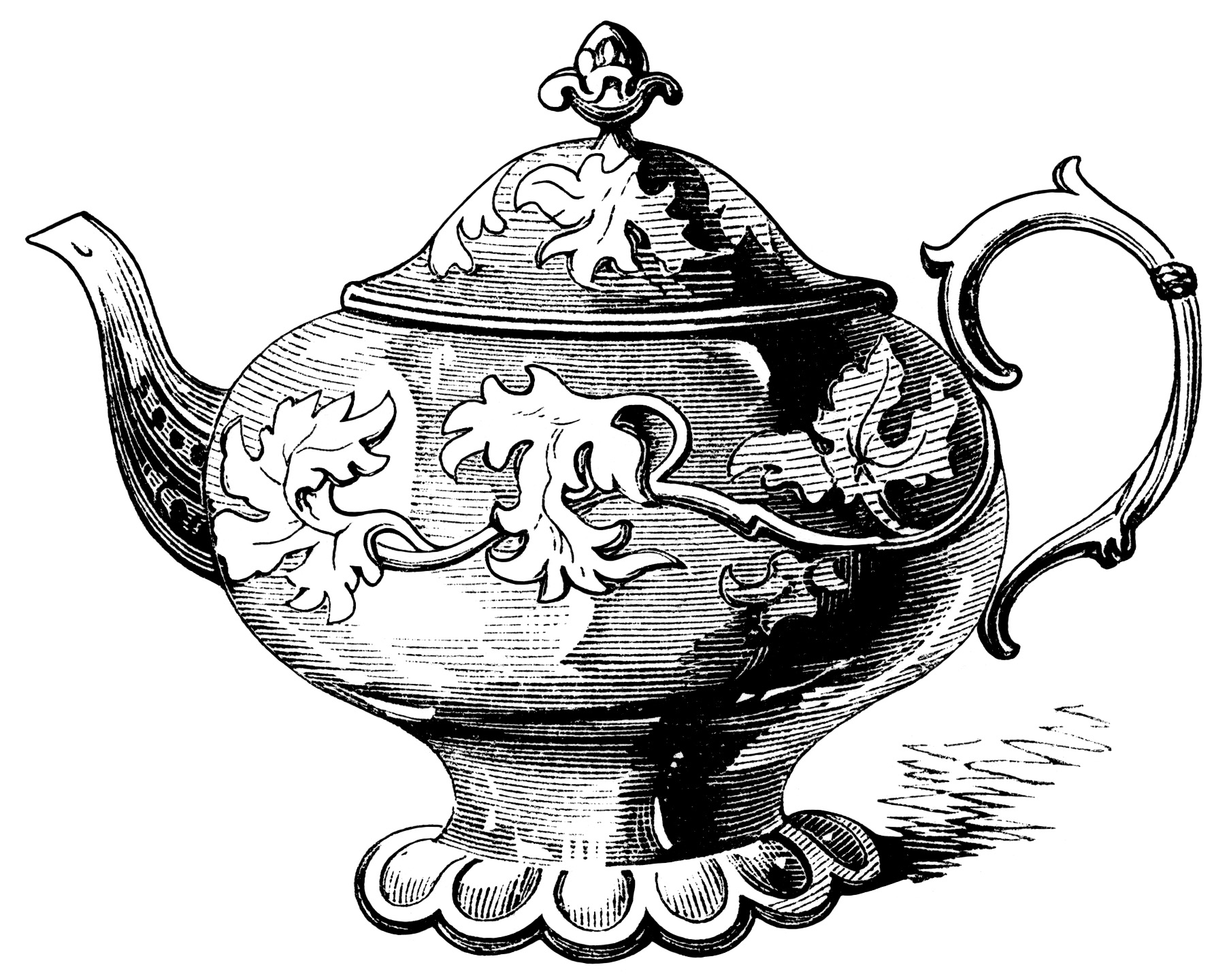 Victorian Tea Pot Illustration Vintage Teapot Clipart