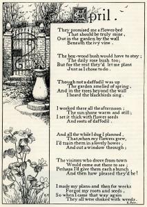 April poem, K Pyle poetry, vintage garden poem, black and white graphics, printable garden clip art