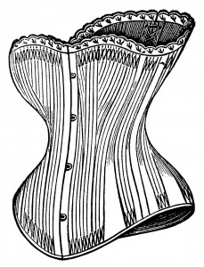 Victorian corset clip art, black and white graphics, steampunk graphics, Victorian undergarment fashion, vintage corset