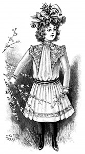 Victorian child fashion, victorian girl clip art, black and white graphics, vintage dress for girls, printable children illustration