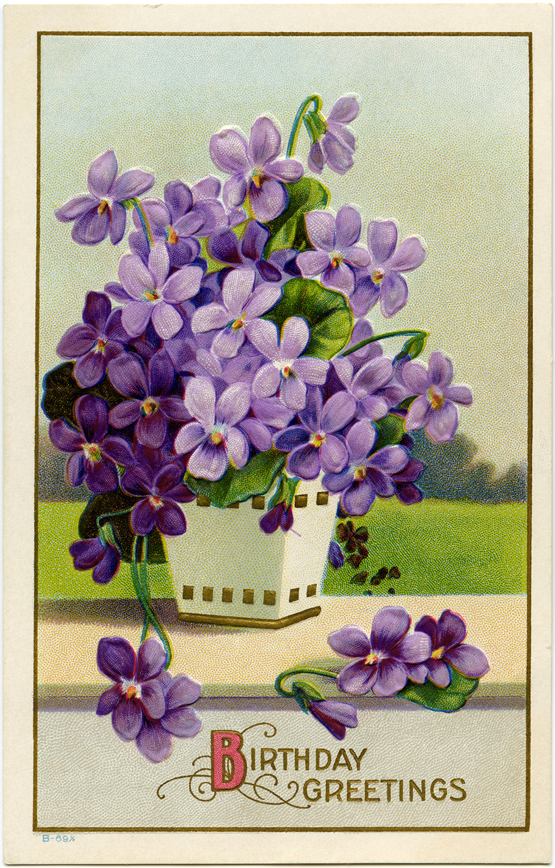 This vintage birthday postcard features a square white vase that is