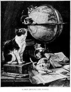 trip around the world, kitten clip art, black and white graphics, cat kitten printable illustration, kittens on desk