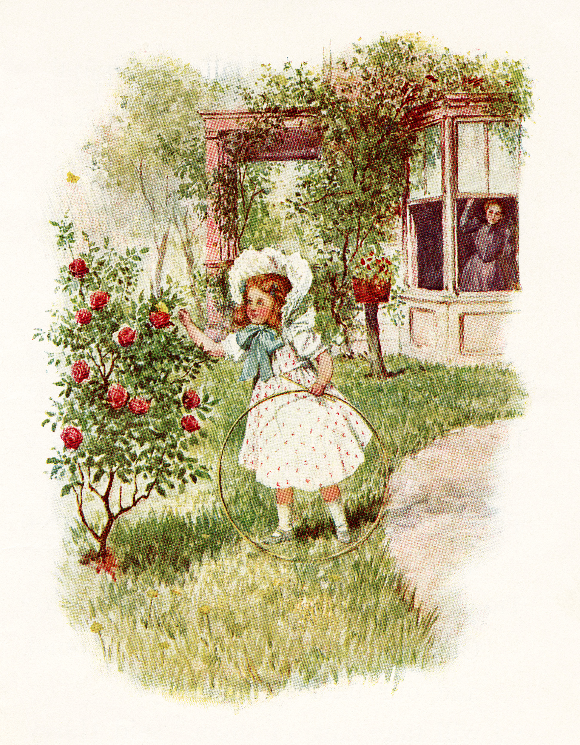 Victorian girl clip art girl in garden graphics child for Garden design graphics