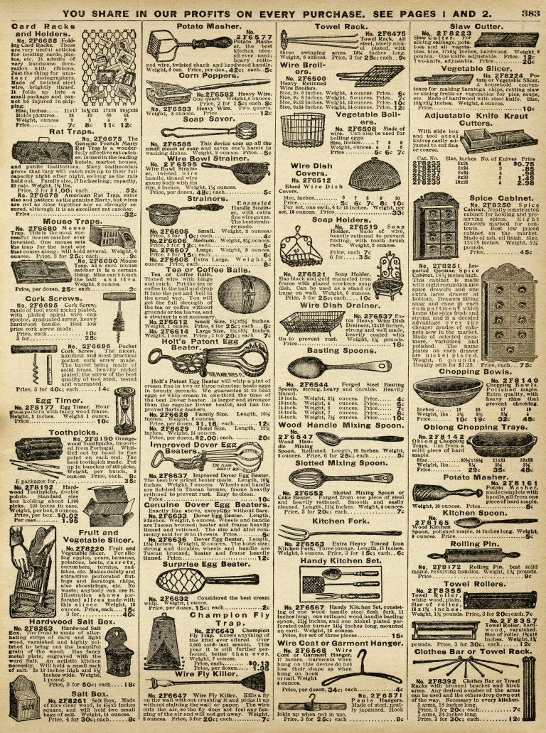 Vintage Kitchen Utensils Catalogue Page