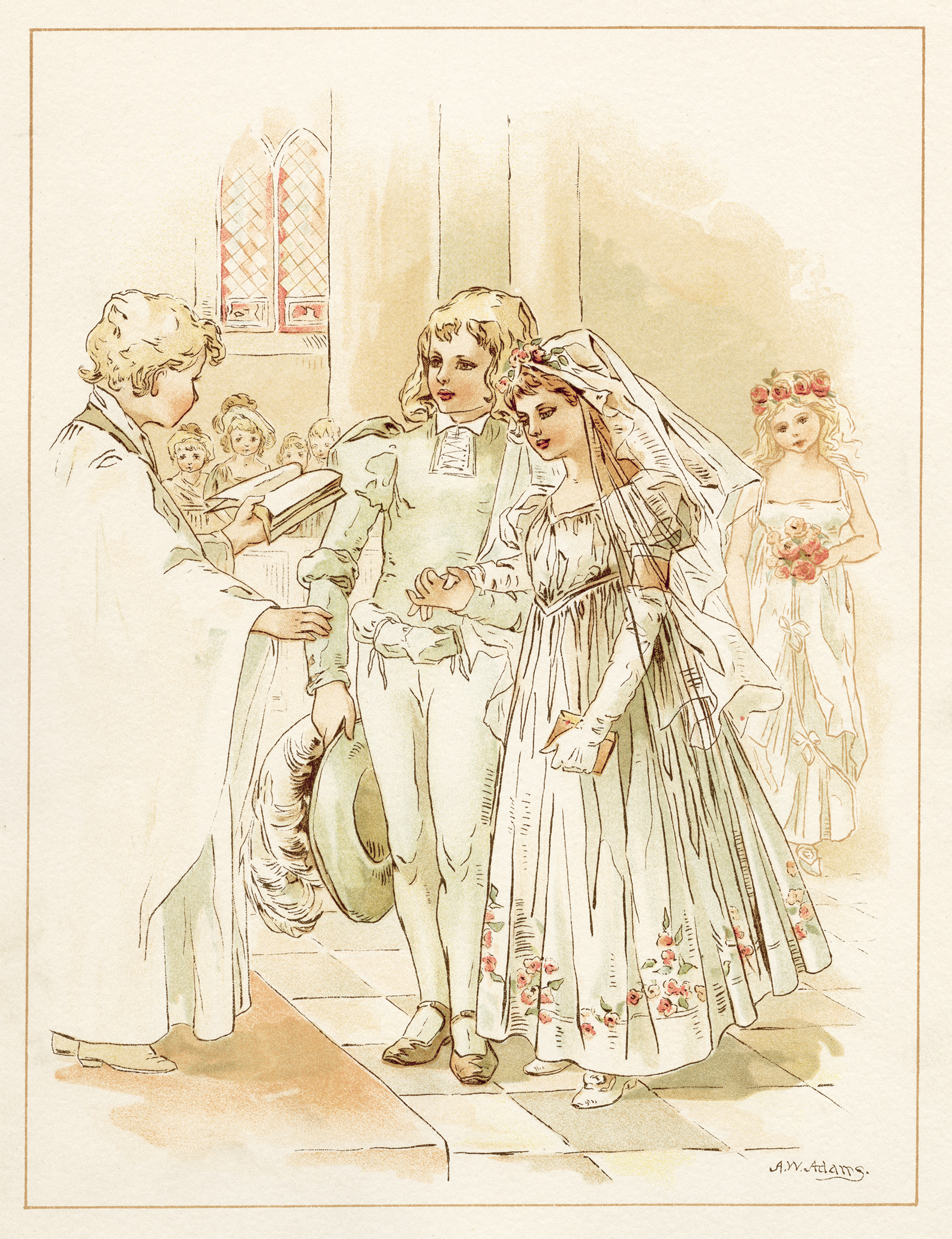 tom tucker bo peep wedding, vintage storybook wedding image, alice wheaton adams art, childrens story page
