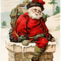 vintage santa postcard, old fashioned christmas card, santa in chimney, joyful christmas greeting, vintage santa clip art