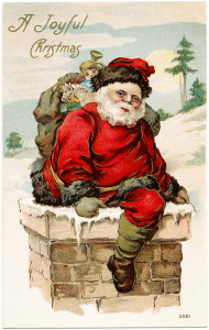 vintage santa postcard, old fashioned christmas card, santa in chimney, joyful christmas greeting, vintage santa clip art