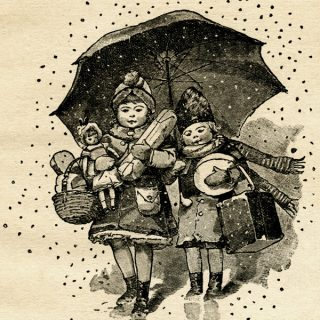 Free vintage clip art children with Christmas gifts walking under umbrella
