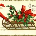 Free vintage clip art Christmas sleigh of holly and berries