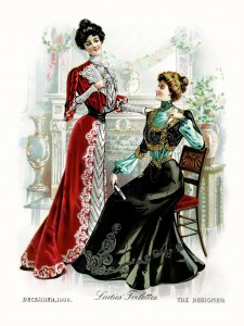 Victorian fashion plate, Victorian lady clip art, antique womans dress, vintage ball gown illustration, elegant formal Victorian party