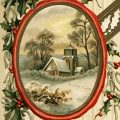 Free vintage clip art Christmas postcard country church scene holly berries