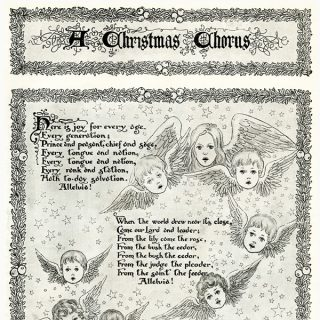 Free vintage clip art Christmas song cherub illustration