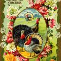 Free vintage clip art turkeys in field framed with flowers postcard image