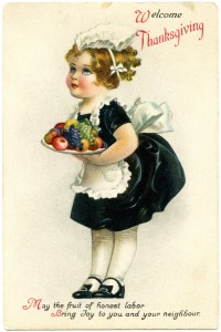 Free vintage clip art little maid Thanksgiving girl serving fruit postcard