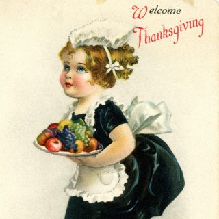 Free vintage clip art little maid Thanksgiving girl serving fruit postcard