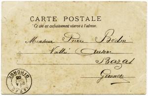 Free vintage clip art French postcard back handwriting postmark