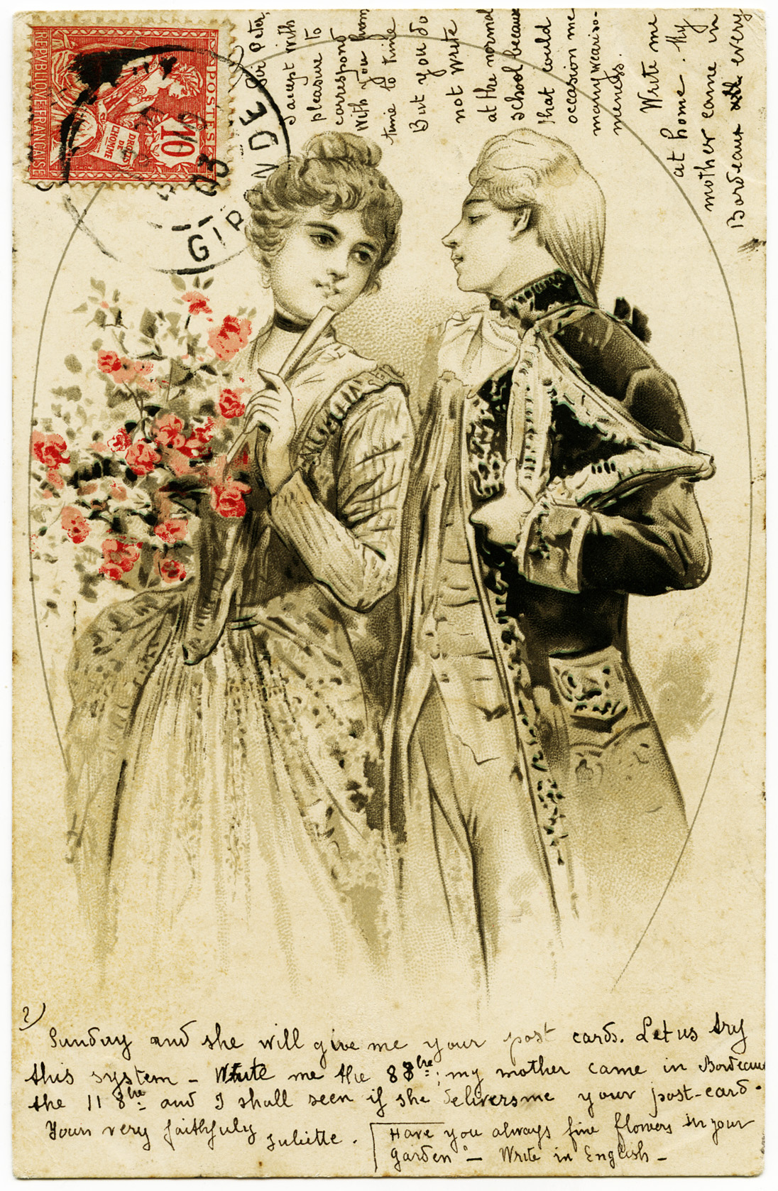 Vintage French Couple in Love Postcard - Old Design Shop Blog