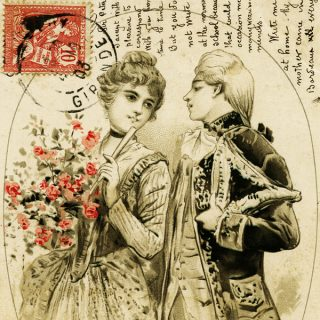 Free vintage clip art French postcard Victorian couple