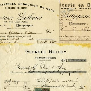 free vintage French invoices digital download