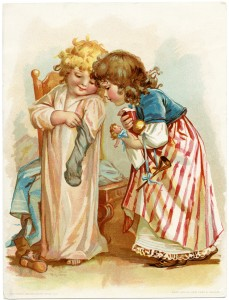 Free vintage clip art Victorian girls with Christmas toys from stockings