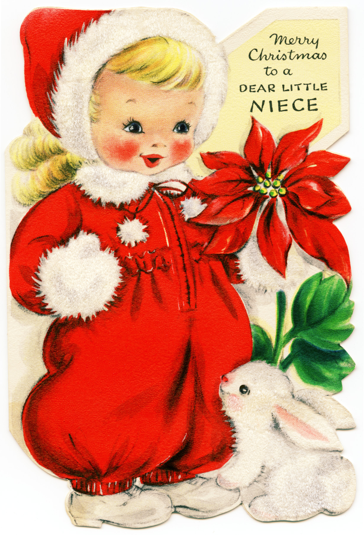 Girl in Red Retro Christmas Greeting Card - Old Design Shop Blog