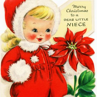 Free vintage clip art Christmas greeting card girl in red with poinsettia and rabbit