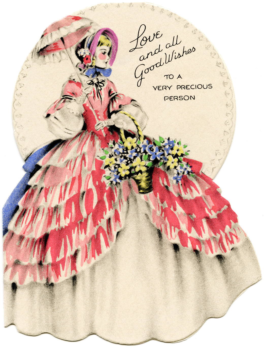 Free Vintage Clip Art Victorian Lady In Ruffled Pink Dress And Parasol Birthday Greeting Card