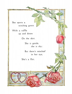 Free vintage poem illustrated with roses and hearts
