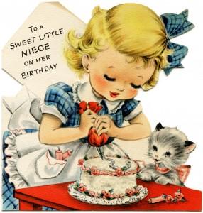 Free vintage clip art girl decorating cake kitten watching birthday greeting card