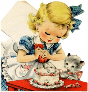 vintage birthday card, retro birthday greeting card, girl and kitten graphic, Victorian lady illustration, girl decorating cake clip art