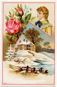 Free vintage clip art Victorian trading card rose girl country winter scene
